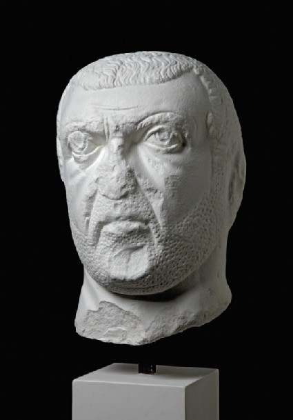 Cast of a portrait head from the tetrarchic period, from Alba Fucens