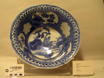Deep bowl with duck in a landscape