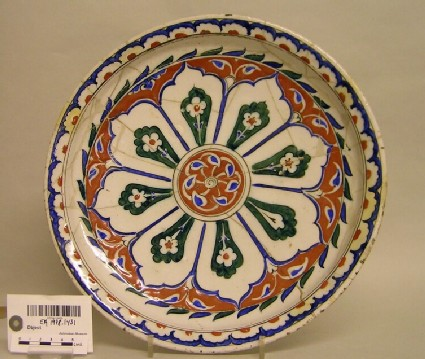 Dish with lobed compartments and flowers