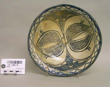 Bowl with buds and cross-hatched decoration