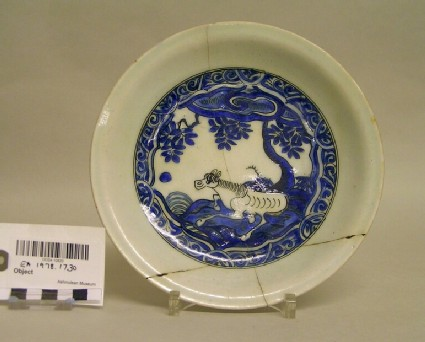 Dish with horse in a landscape