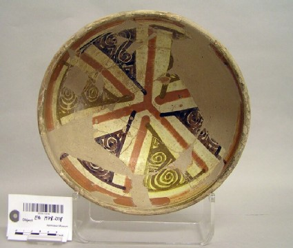Bowl with triangular panels and spirals
