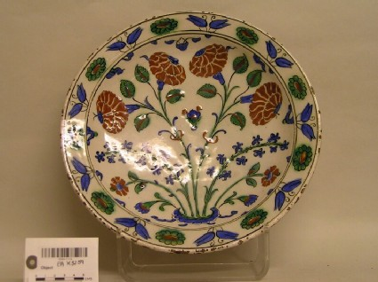 Dish with hyacinths and carnations