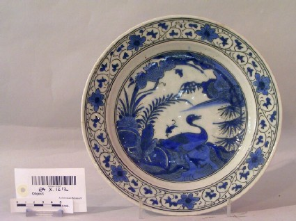 Dish with goose in a landscape