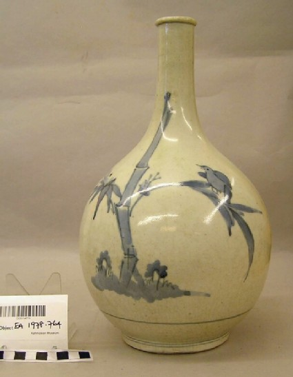 Bottle with bird and bamboo