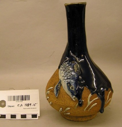 Pear-shaped bottle with a fish, Sumida ware