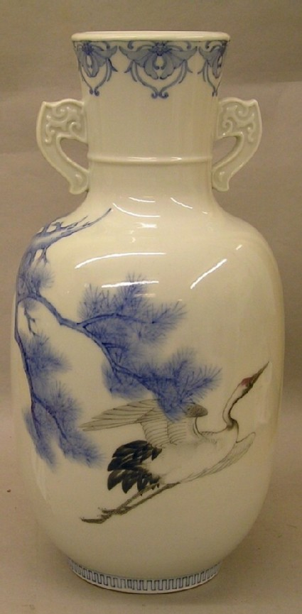 Vase with crane and pine tree