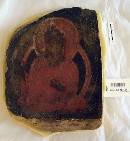 Wall-painting fragment depicting a seated Buddha in meditation