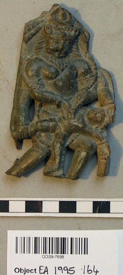 Relief plaque depicting Narasimha slaying Hiranyakasipu