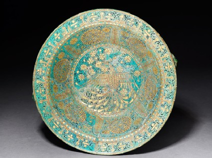Bowl with eagle, arabesques, and kufic inscription