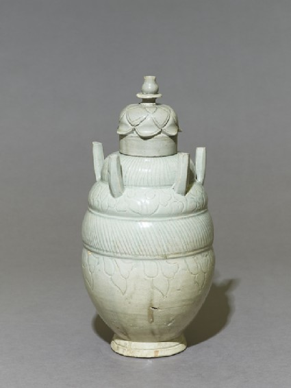 Greenware burial vase with lid in the form of a lotus