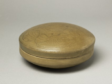 Greenware circular box and lid with lotus flowers