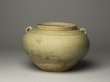 Greenware guan, or jar, with loop handles