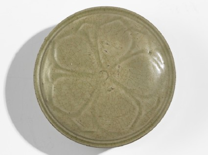Greenware circular box and lid with flower decoration