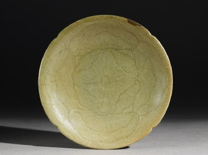 Greenware saucer dish with a lotus flower