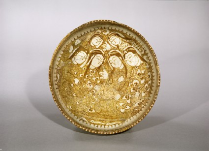 Bowl with seated figures by a stream