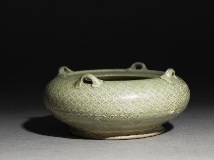 Greenware water pot with loop handles