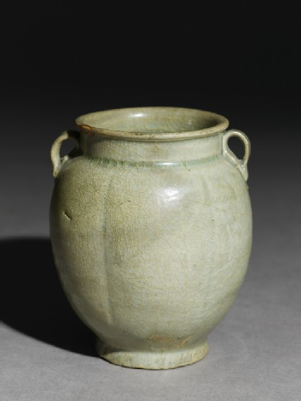 Greenware six-lobed jar with petals