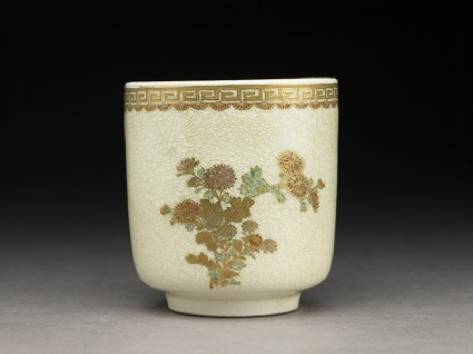Satsuma cup with chrysanthemums and key pattern border