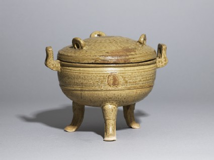 Greenware ritual food vessel, or ding