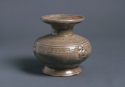 Greenware jar with horse and rider