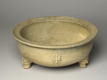 Greenware tripod bowl with hoof-shaped feet