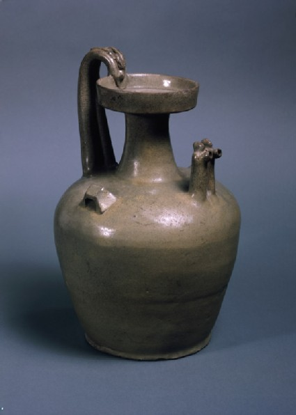 Greenware ewer with two chicken head spouts