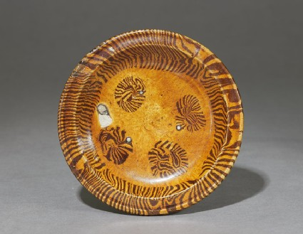 Tripod dish with marbled decoration