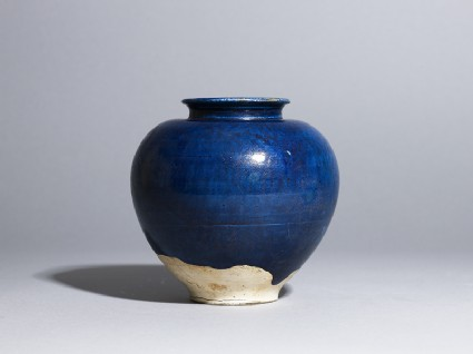 Blue-glazed jar