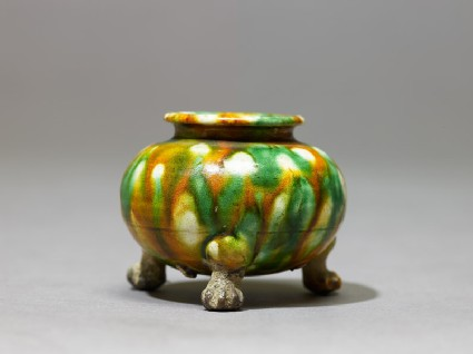 Tripod jar with three-colour glaze