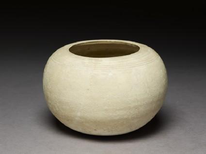 Globular white ware bowl