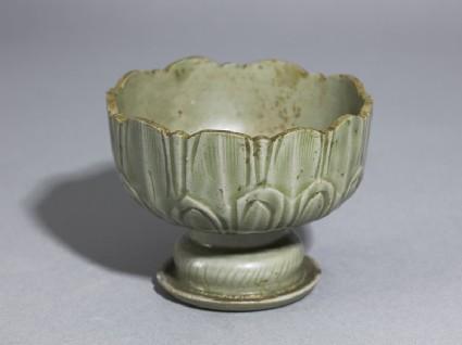 Greenware stem cup with lotus petals