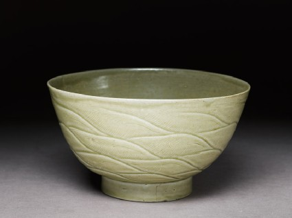 Greenware bowl with waves