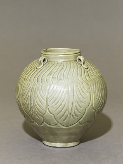 Greenware jar with lotus leaves