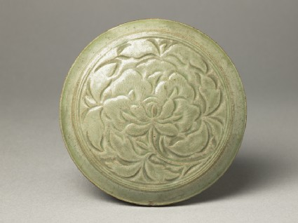 Greenware circular box and lid with peony decoration