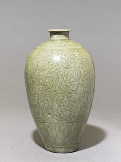Greenware meiping, or plum blossom, vase with peony scroll decoration