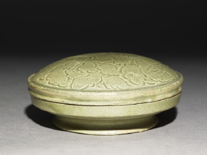 Greenware circular box and lid with peony sprays