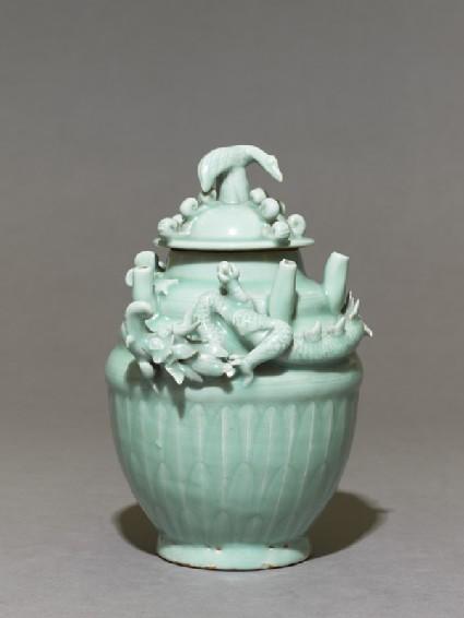 Greenware funerary jar with dragon