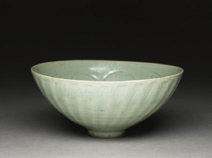 Greenware bowl with lotus petals