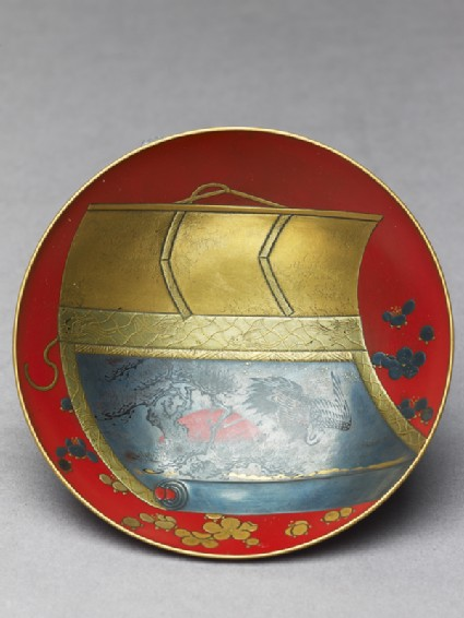 Sake cup with a scroll depicting a crane