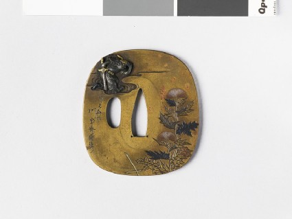 Rounded square tsuba with Shoki and autumn thistles