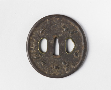 Round tsuba with cherry blossoms