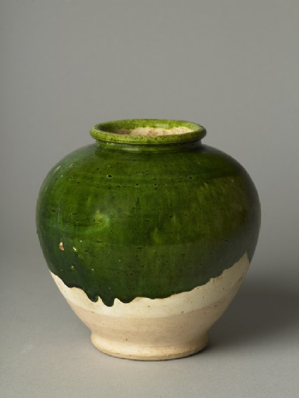 Green-glazed jar
