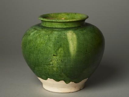Green-glazed jar