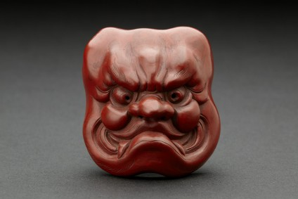 Red lacquer mask of Ō-Beshimi