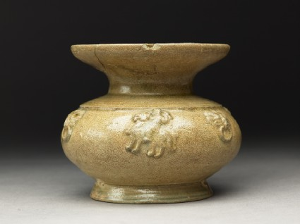 Greenware guan, or jar, with dish-shaped mouth and riding horses