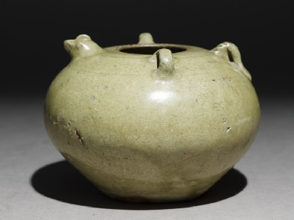 Greenware jar with chicken head and tail