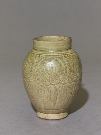 Greenware jar with lotus petals and peony scroll decoration
