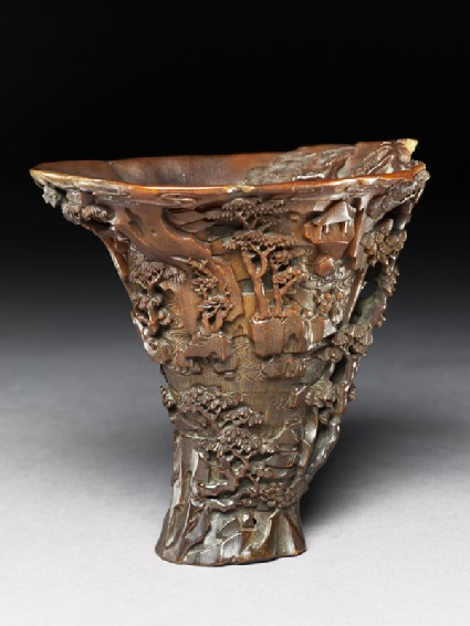 Rhinoceros horn libation cup with trees and pavilions