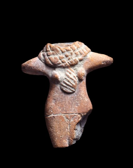 Fragmentary standing female figure with neck ornament